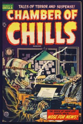 CHAMBER OF CHILLS #21 NEAR PERFECT PRE-CODE HORROR 1954 ORIGINAL GLOSS COLOR