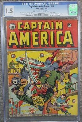 1942 Captain America Comics #18 CGC 1.5 FR/GD Golden Age Timely Comic E6