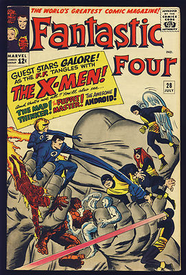 FANTASTIC FOUR #28 VF- EARLY X-MEN VAL $342 KIRBY 1964 CLASSIC COVER