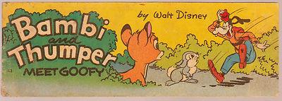 WEETIES WALT DISNEY CEREAL PREMIUM BAMBI THUMPER H3 AUSTRALIAN COMIC 1950 EXCLNT