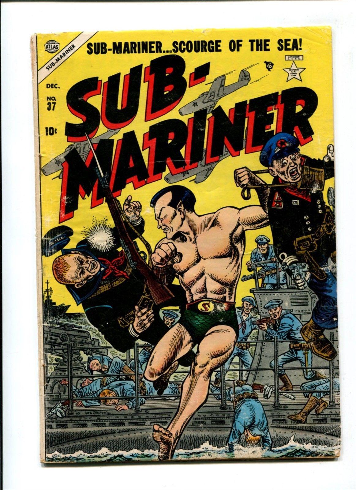 Sub-Mariner #37 VINTAGE Golden Age 10c Atlas Marvel Comic 1954 War Cover