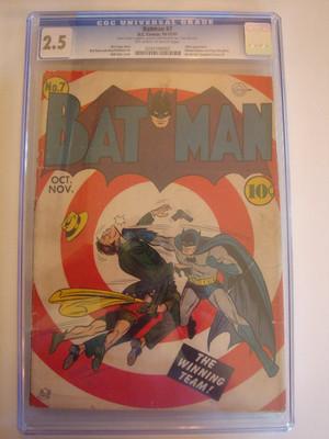 BATMAN # 7 1941 GOLDEN AGE BOOK CGC UNIVERSAL 2.5 SLABBED