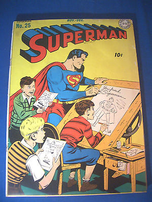 1943 * SUPERMAN #25 DC Comics est 5.0 VG/FN * RARE Off WHITE to WHITE Pages