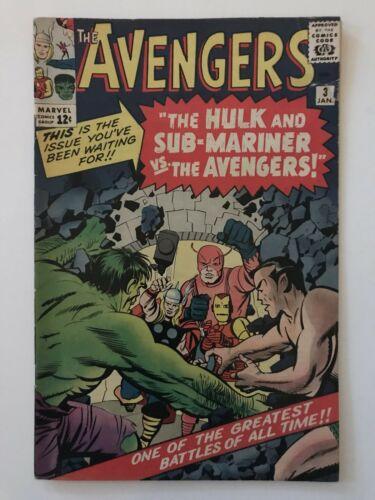 Avengers #3- VINTAGE Marvel Comic-  KEY!!! 1st Hulk & Sub-Mariner Team-Up Silver