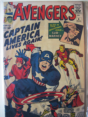 THE AVENGERS #4, March 1963, Marvel comic book – very rare. VERY FINE CONDITION