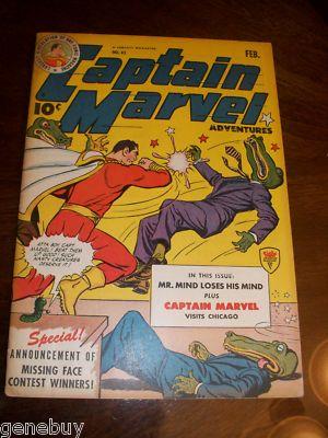 CAPTAIN MARVEL ADVENTURES 43 FAWCETT WWII War Time Comic 1945 1ST UNCLE MARVEL
