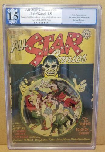 ALL-STAR COMICS #33 PGX 1.5 CLASSIC SOLOMON GRUNDY IRWIN HASEN COVER 1947 RARE