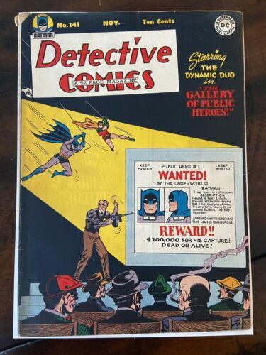 DETECTIVE COMICS 141 ~ 1940s BATMAN COMIC BOOK ~ BLACK COVER SOLID SHAPE!