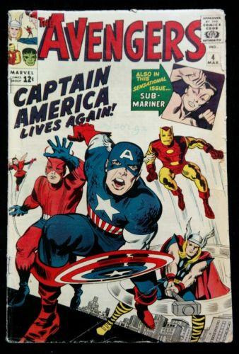 Avengers #4 Marvel Comics 1964 **1st Silver Age Captain America (Steve Rogers)**