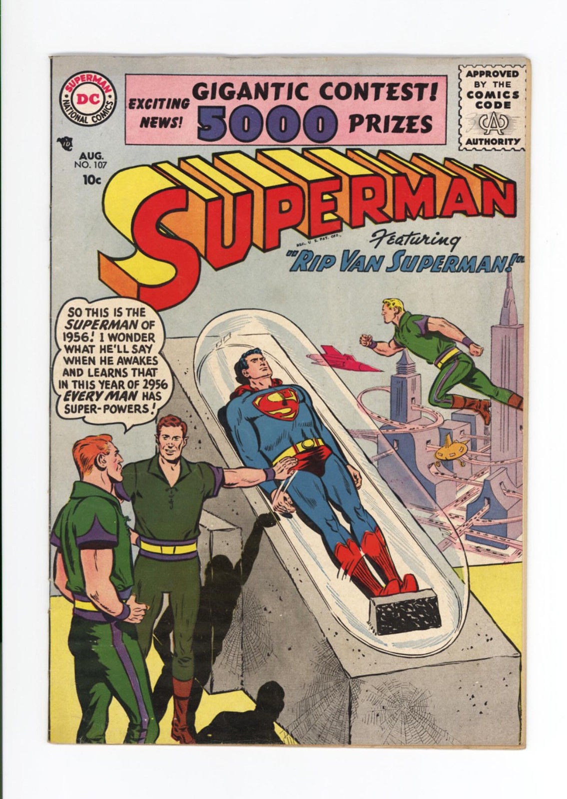 SUPERMAN #107 – UNRESTORED HIGH GRADE VF 8.0!  1955 – LAST GOLDEN AGE ISSUE
