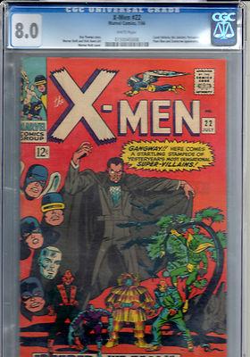 X-men # 22 CGC 8.0 White Pages Marvel Comics