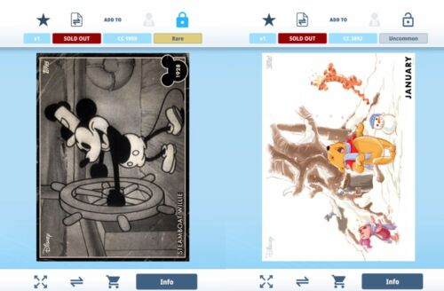 Topps Disney Collect Digital Vintage Steamboat Willie Mickey + Pooh January VIP