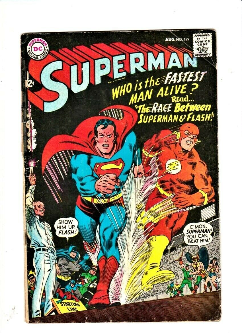 SUPERMAN # 199 August 1967 DC Comics 1st Superman/Flash race first