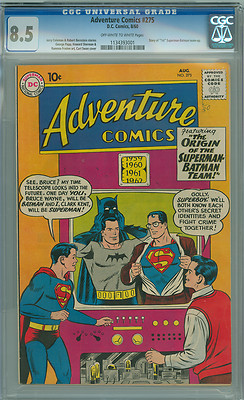 "Adventure Comics 275 CGC 8.5 VF+ DC 1960 OW/W ""1st"" Superman Batman Team-up"