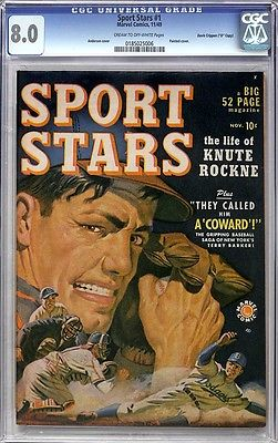 SPORT STARS #1 CGC VF 8.0 – Single HIGHEST CGC Grade – VERY RARE – 1949 Marvel