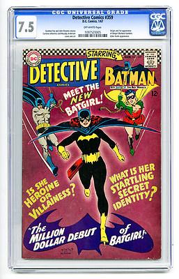 Detective Comics #359 CGC 7.5 ow Batman 1st Origin Batgirl DC Silver Age Comic