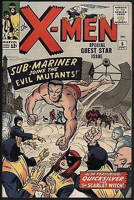 X-MEN #6 JUL 1964 CLASSIC KIRBY! SUB-MARINER GREAT COVER! LOVEY WHITE PAGES!