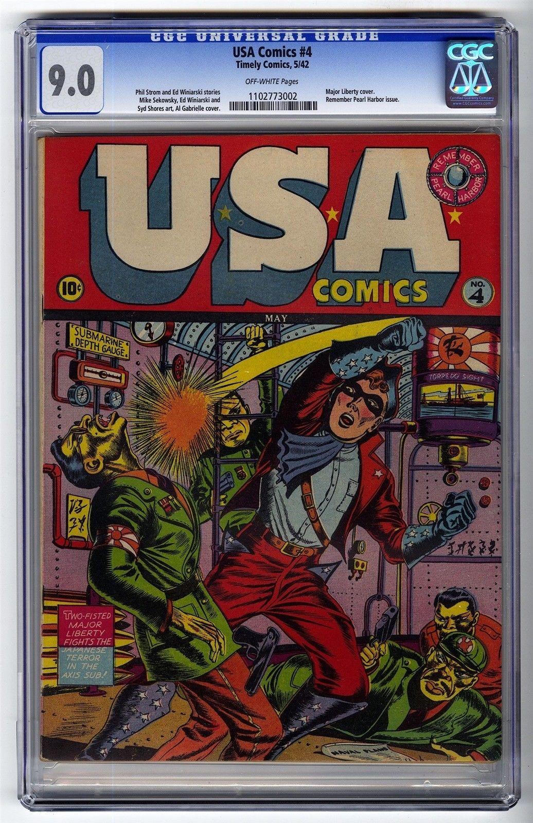 USA Comics #4 CGC 9.0 UNREAL HIGH GRADE Timely Comic Major Liberty Pearl Harbor